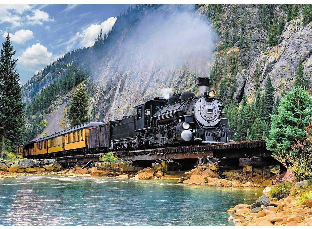Mountain Train Mountains Jigsaw Puzzle