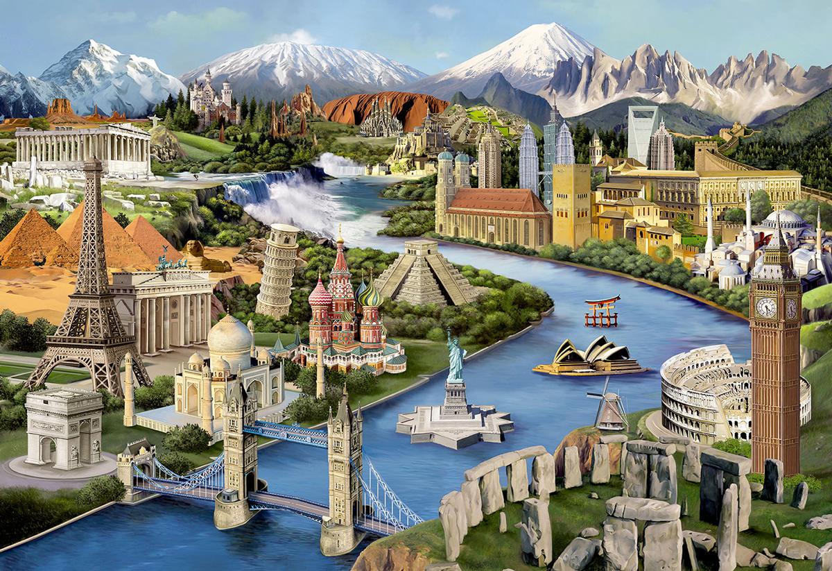 World Landmarks L Monuments / Landmarks Wooden Jigsaw Puzzle