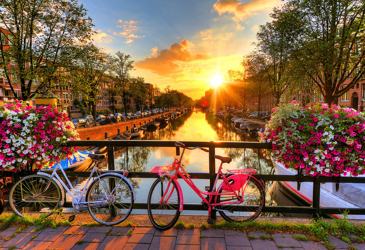 Bicycles of Amsterdam L Lakes / Rivers / Streams Wooden Jigsaw Puzzle