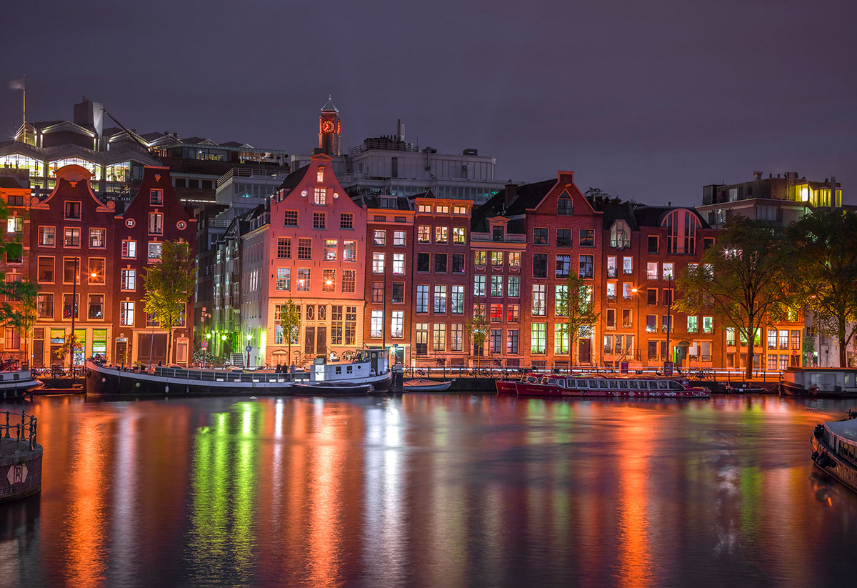 Amsterdam by Night L Skyline / Cityscape Wooden Jigsaw Puzzle