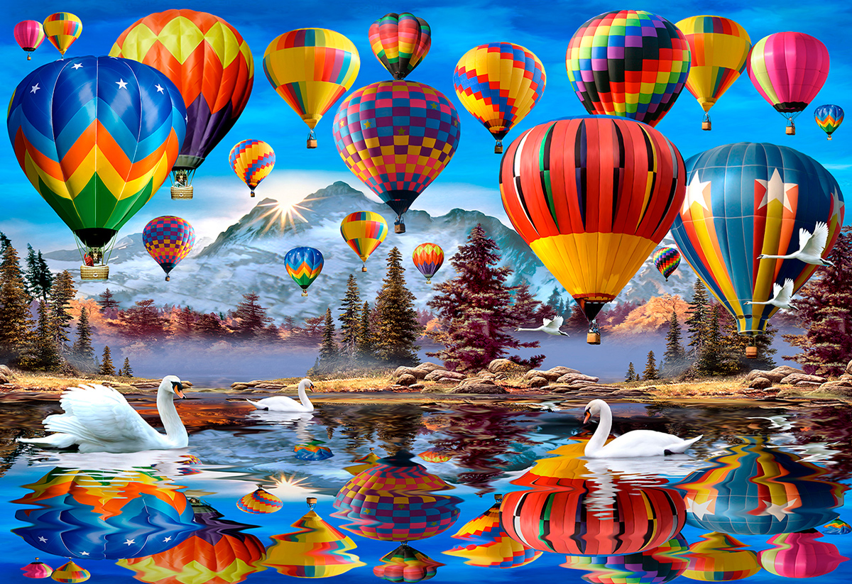 Peaceful Traveling XL Balloons Wooden Jigsaw Puzzle