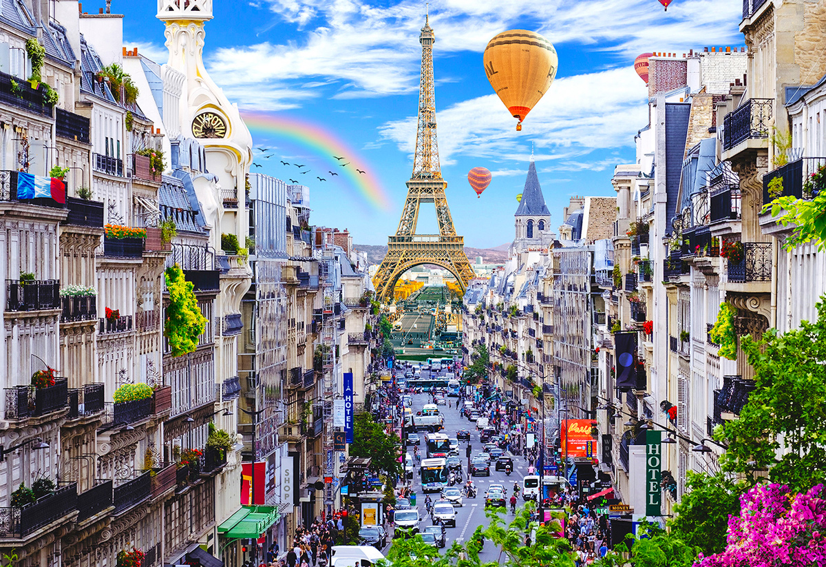 Bustling Paris M France Wooden Jigsaw Puzzle