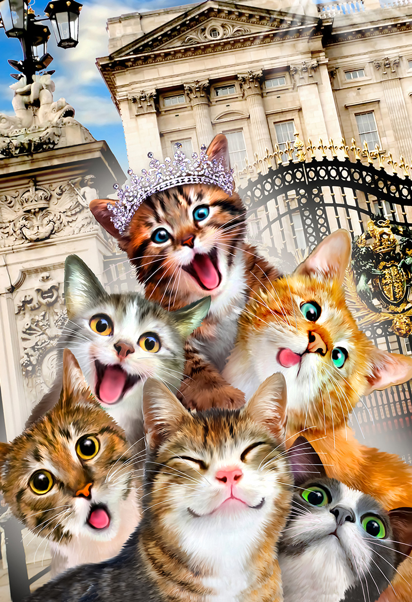 Kittens in Hollywood M Cats Wooden Jigsaw Puzzle