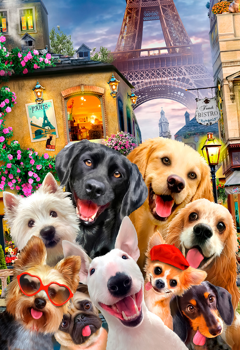 Puppies in Paris M Dogs Wooden Jigsaw Puzzle