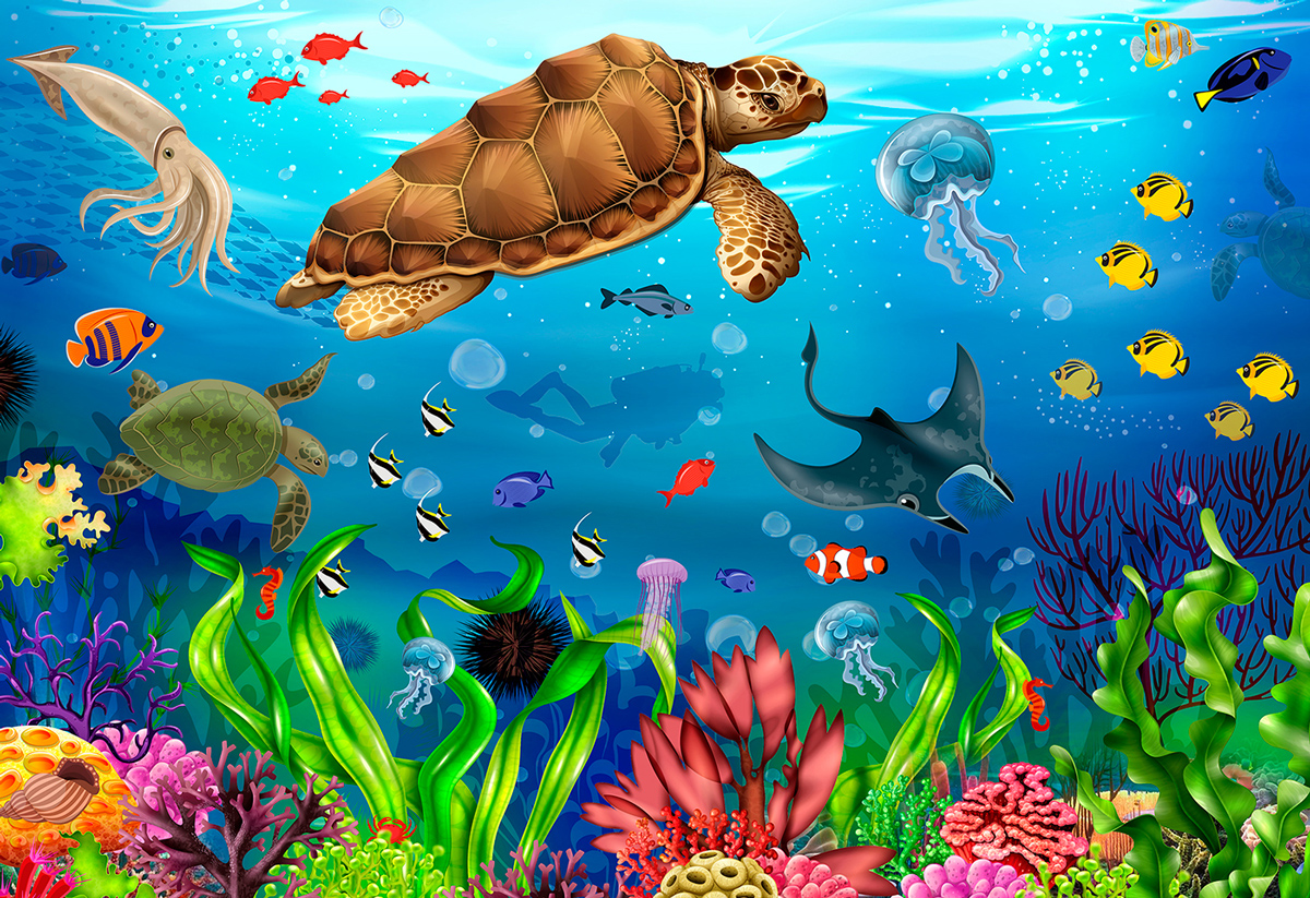 Diving Paradise L Under The Sea Wooden Jigsaw Puzzle