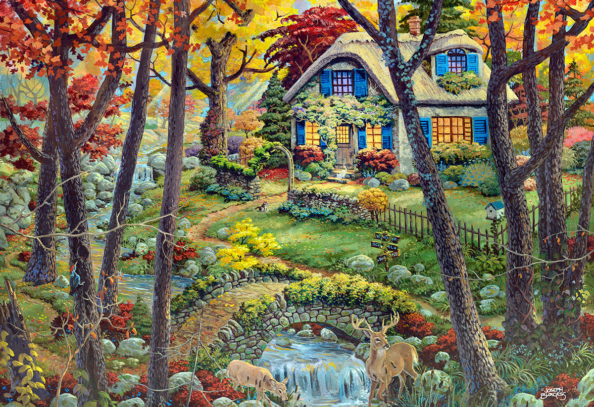 A Cottage in the Woods M Forest Wooden Jigsaw Puzzle
