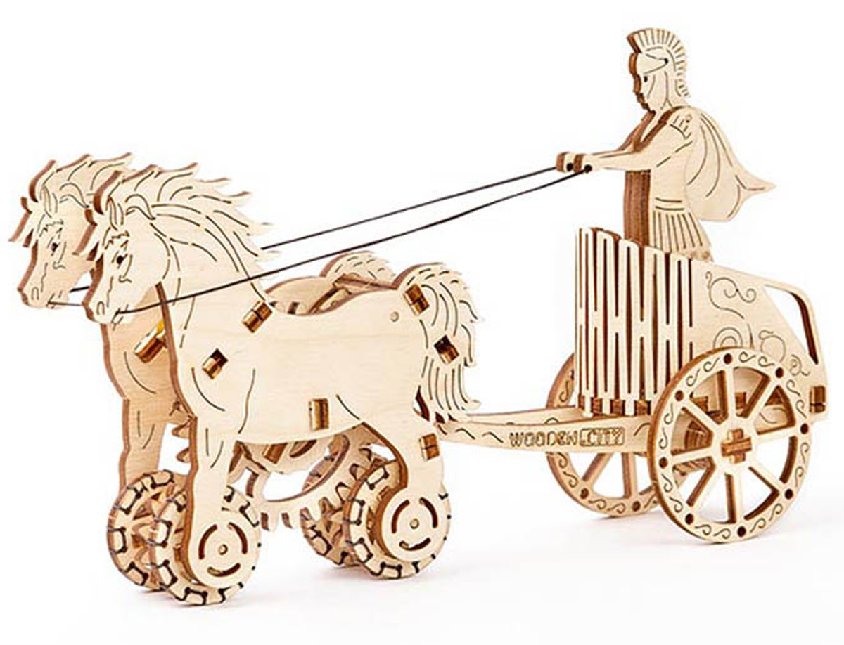 Roman Chariot Vehicles Wooden Jigsaw Puzzle