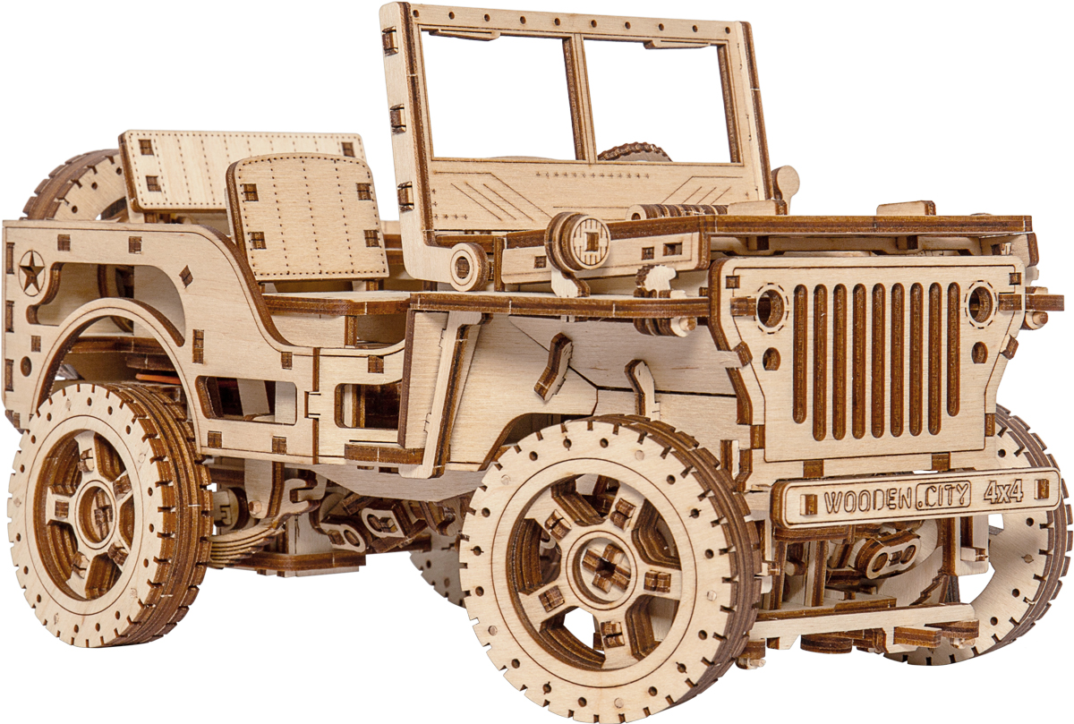 4x4 Wooden Mechanical Model Vehicles Wooden Jigsaw Puzzle