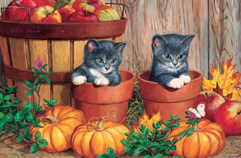 Pumpkin Kittens Fall Children's Puzzles