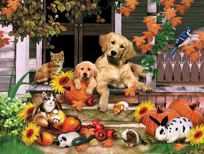 Autumn on the Porch Animals Jigsaw Puzzle