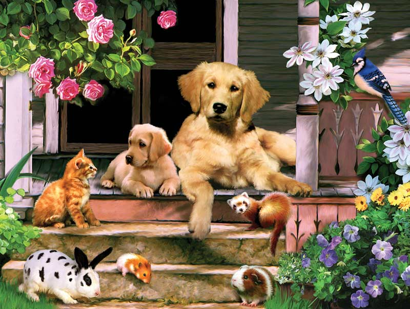Summer on the Porch Animals Jigsaw Puzzle