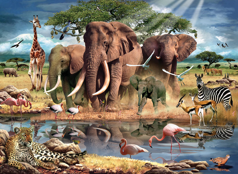 At the Waters Edge Africa Jigsaw Puzzle