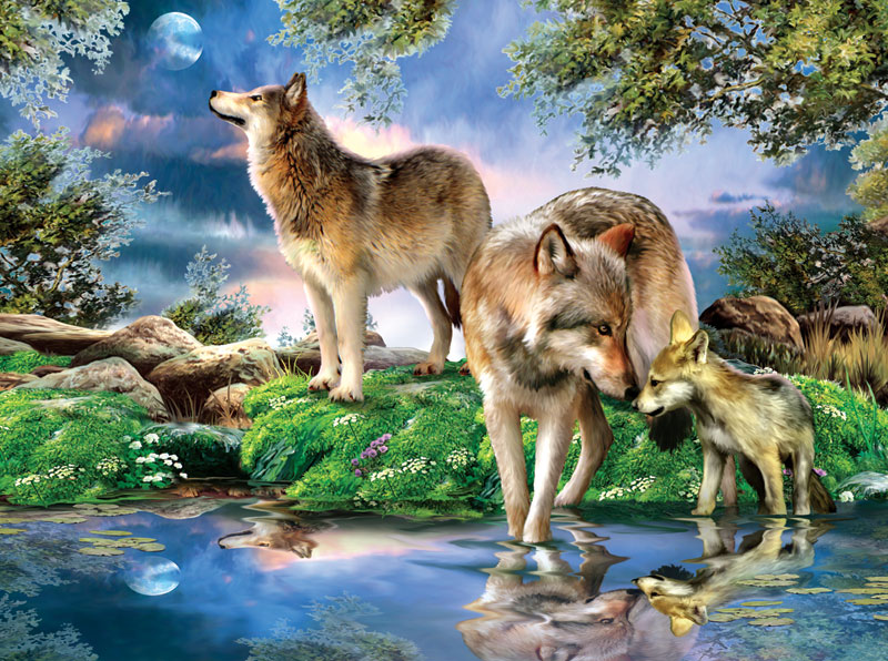 A New Moon Wolves Jigsaw Puzzle