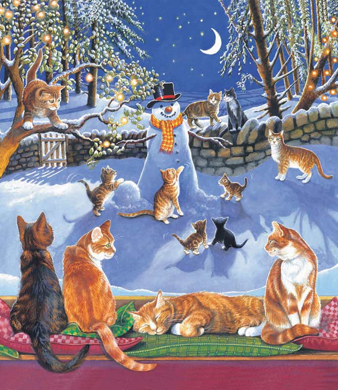 On A Frosty Night Cats Jigsaw Puzzle