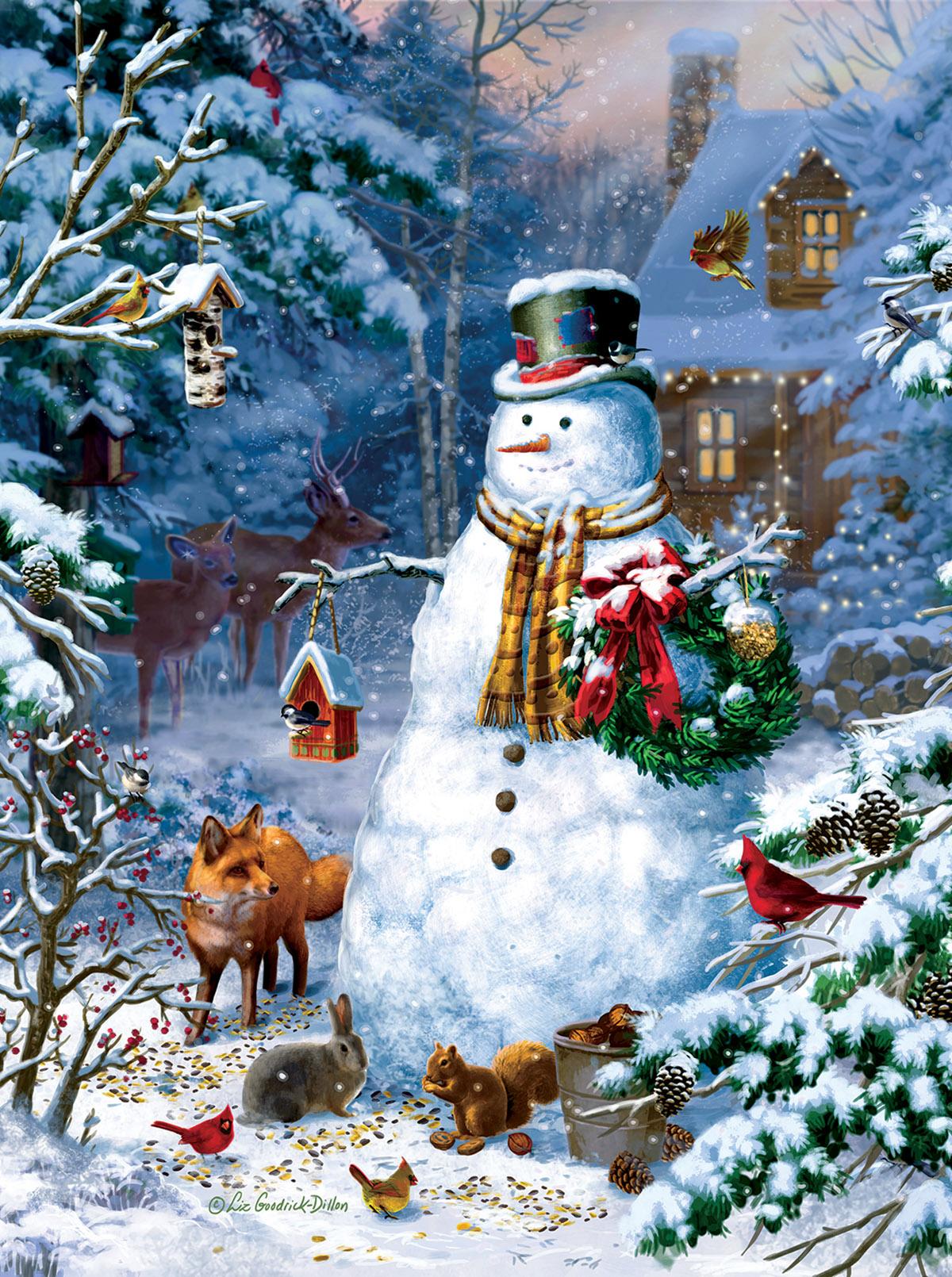 Winter Cabin Snowman Animals Jigsaw Puzzle