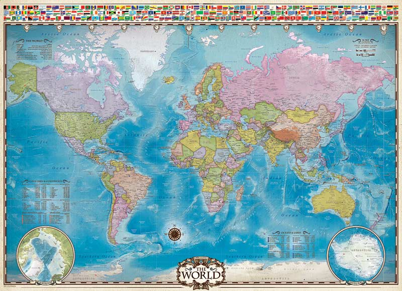 Map of the World with Flags Educational Jigsaw Puzzle
