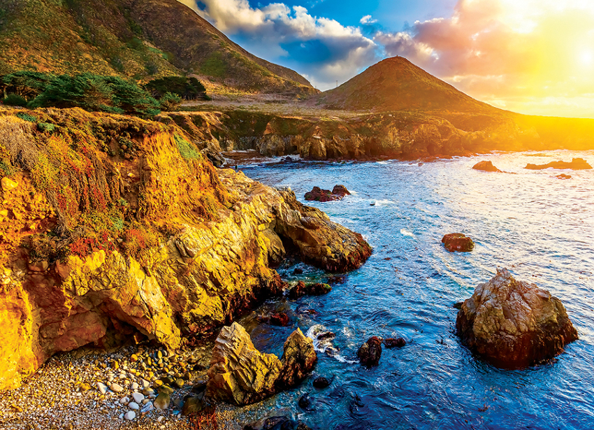 Sunset on the Pacific Coast Landscape Jigsaw Puzzle