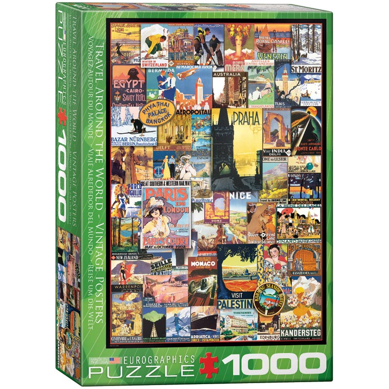 Travel the World Vintage Ads Travel Jigsaw Puzzle