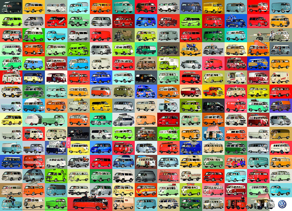 The Volkswagon Groovy Bus Cars Jigsaw Puzzle