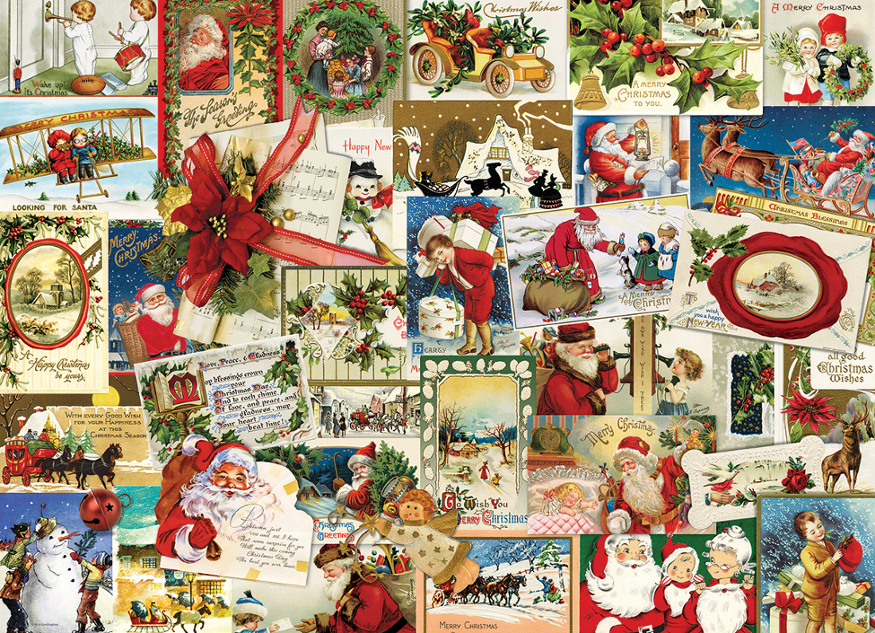 vintage christmas cards santa jigsaw puzzle - Collage Christmas Cards