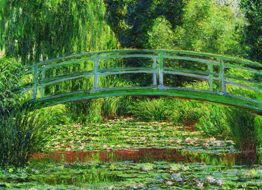 The Japanese Footbridge Flowers Jigsaw Puzzle