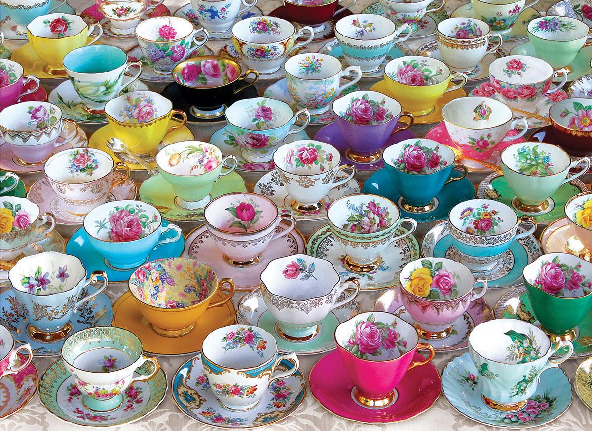Tea Cups Pattern / Assortment Jigsaw Puzzle