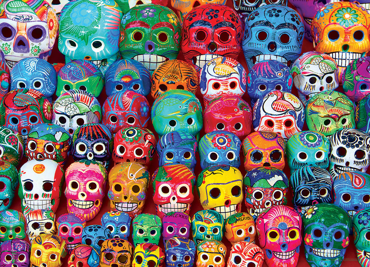 Traditional Mexican Skulls Pattern / Assortment Jigsaw Puzzle