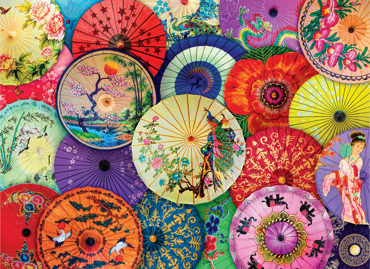 Asian Oil Paper Umbrellas Asian Art Jigsaw Puzzle