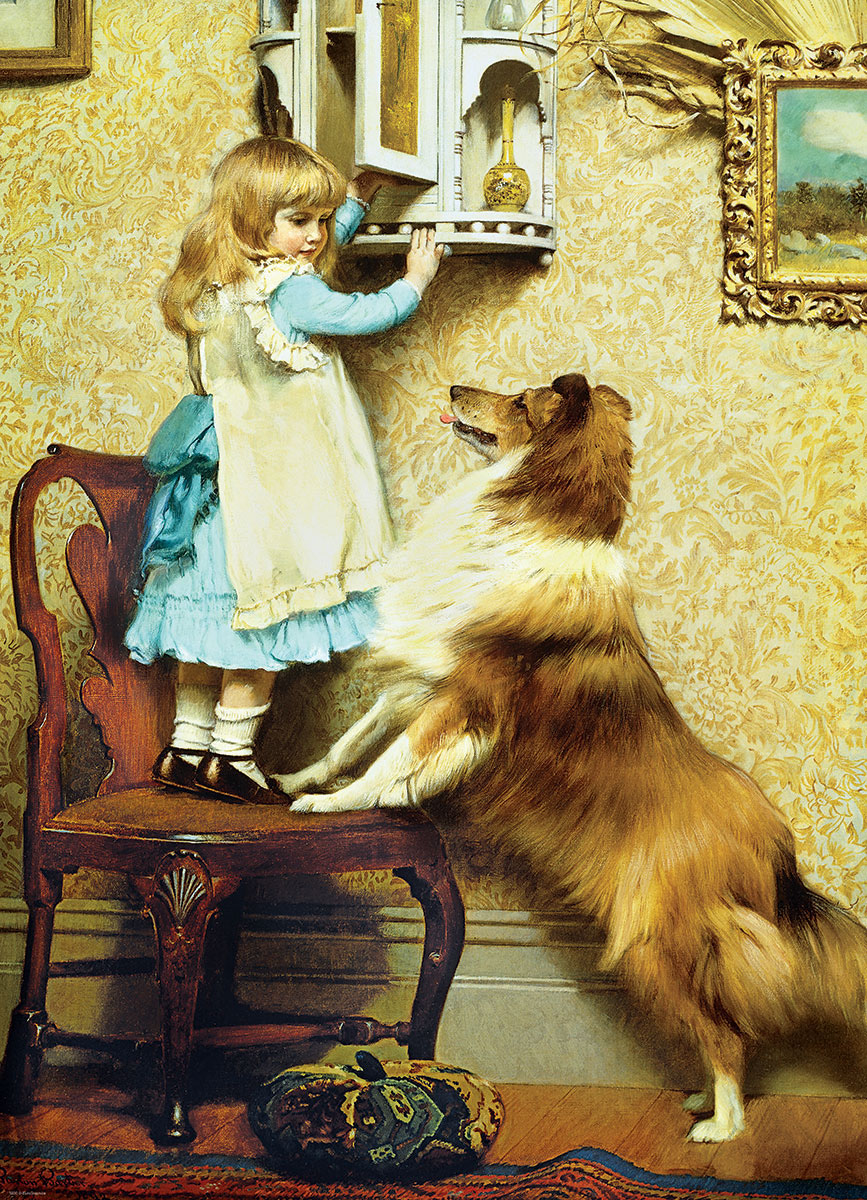 Little Girl and Her Sheltie Fine Art Jigsaw Puzzle