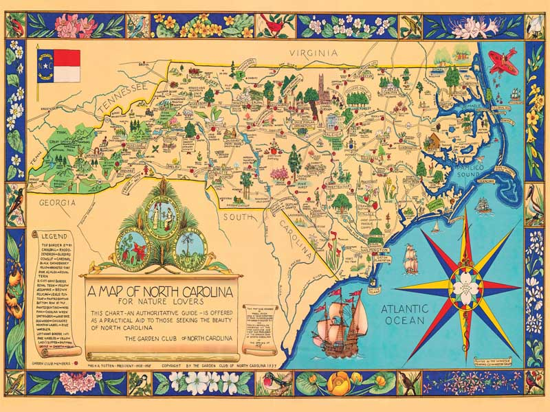 A Map of NC For Nature Lovers