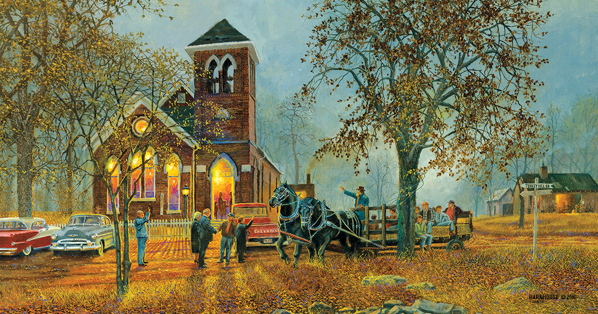 Old Fashioned Hayride Fall Jigsaw Puzzle