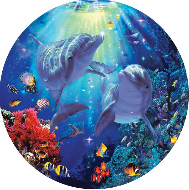 Seascapes - Midnight Sun Dolphins Jigsaw Puzzle