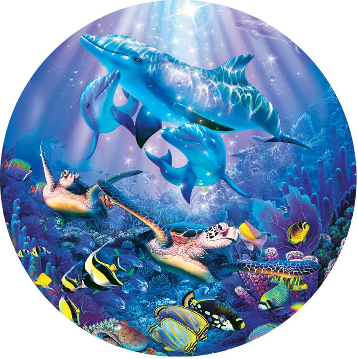 Seascapes - La Mer de Cristal II Dolphins Jigsaw Puzzle