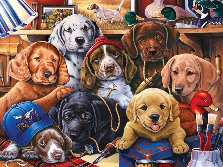Furry Friends - Grandpa's Pups Dogs Jigsaw Puzzle