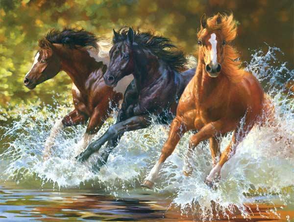 Running Wild - Splash Horses Jigsaw Puzzle