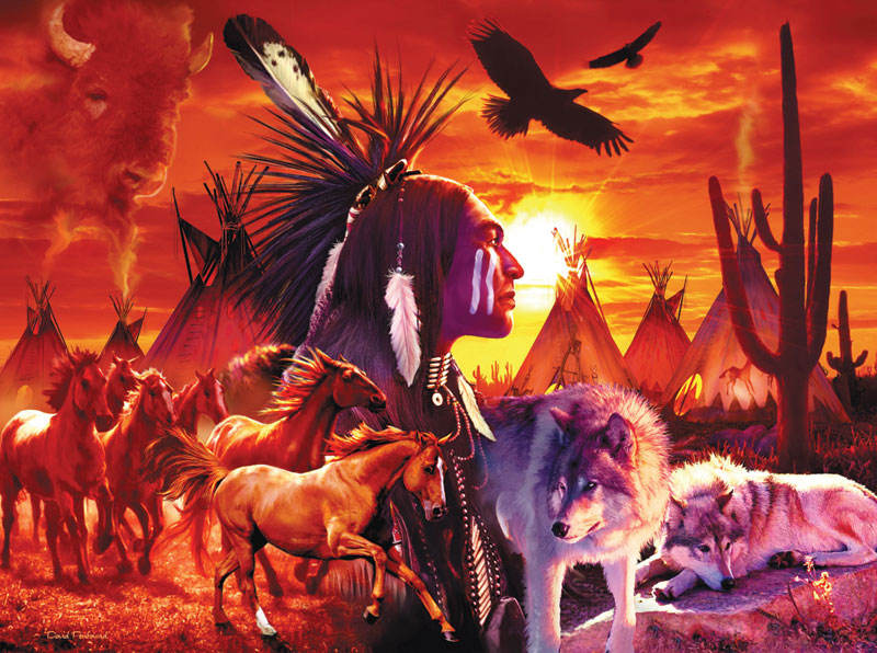 Running Brave Native American Jigsaw Puzzle