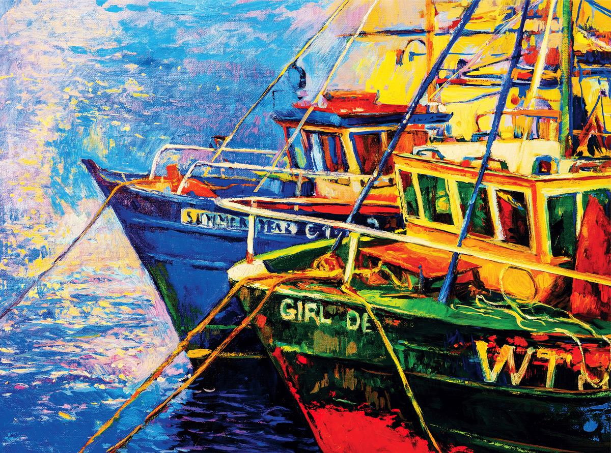Nautical Night Boats Jigsaw Puzzle