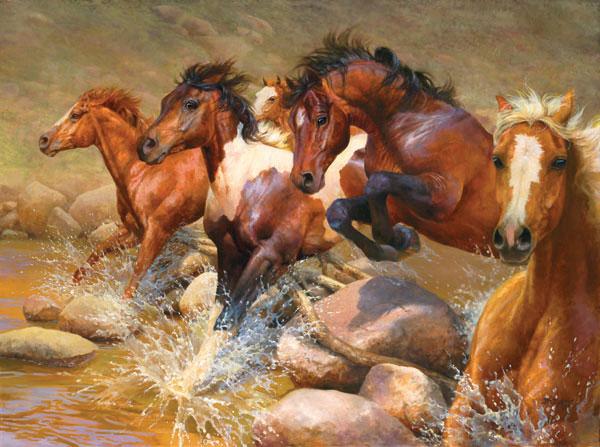 Big Boulder Canyon Horses Jigsaw Puzzle