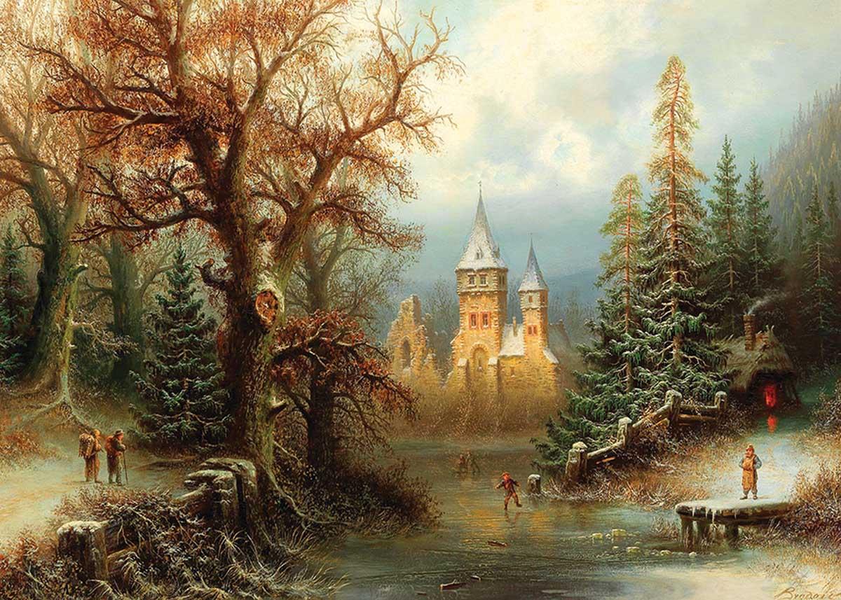 Romantic Winter Landscape Winter Jigsaw Puzzle