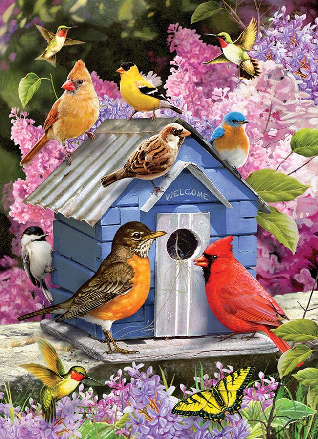 Spring Birdhouse Birds Jigsaw Puzzle