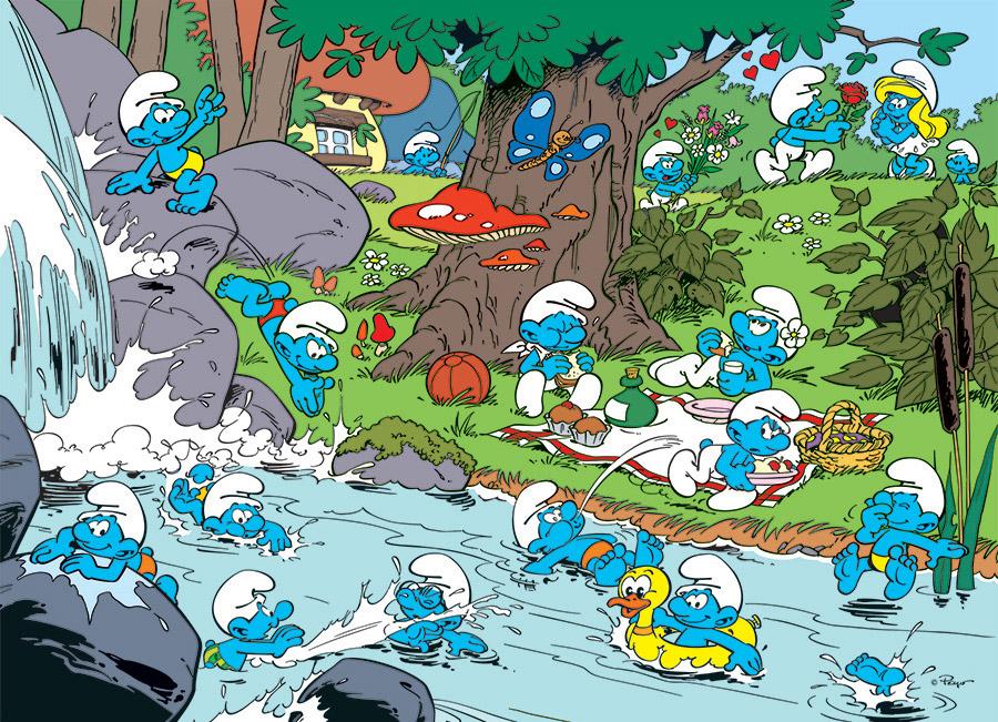 Smurfy Picnic Cartoons Jigsaw Puzzle