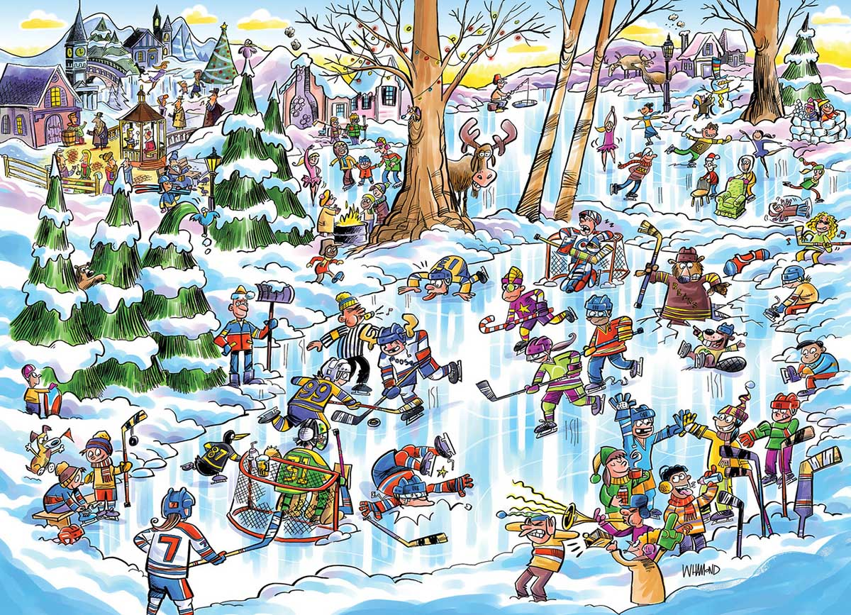 DoodleTown: Hockey Town Winter Jigsaw Puzzle