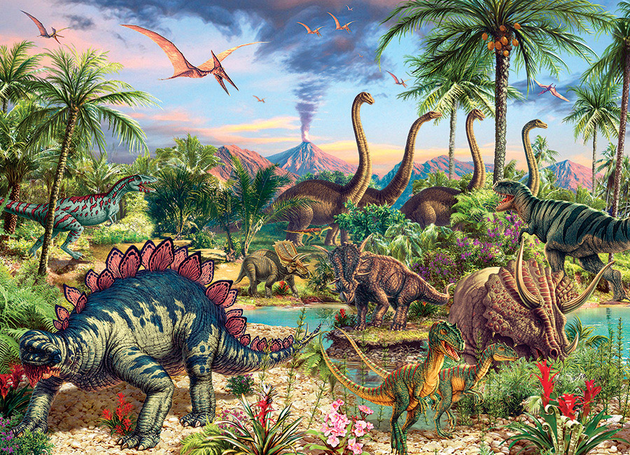 Prehistoric Party Dinosaurs Jigsaw Puzzle