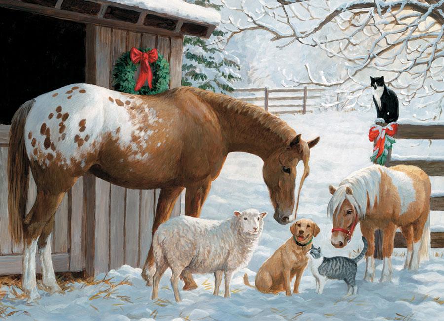 Winter Barnyard Farm Animals Jigsaw Puzzle