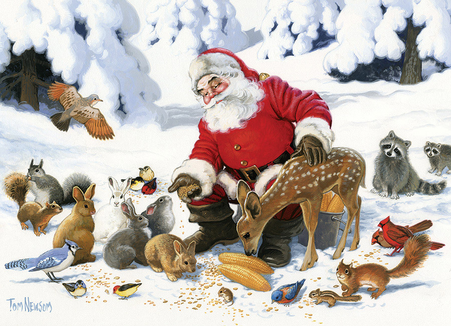 Santa Claus and Friends Animals Jigsaw Puzzle