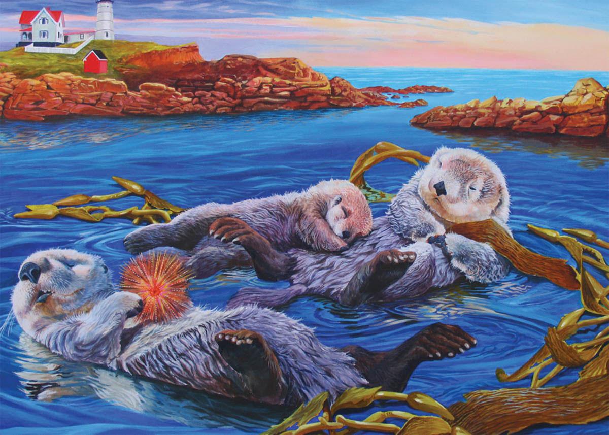 Sea Otter Family Animals Jigsaw Puzzle