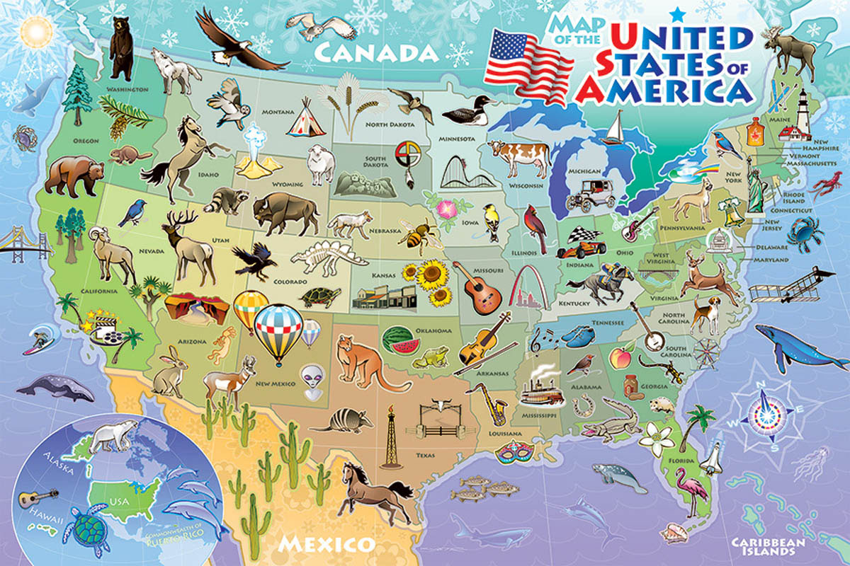 Map of the USA Maps / Geography Children's Puzzles