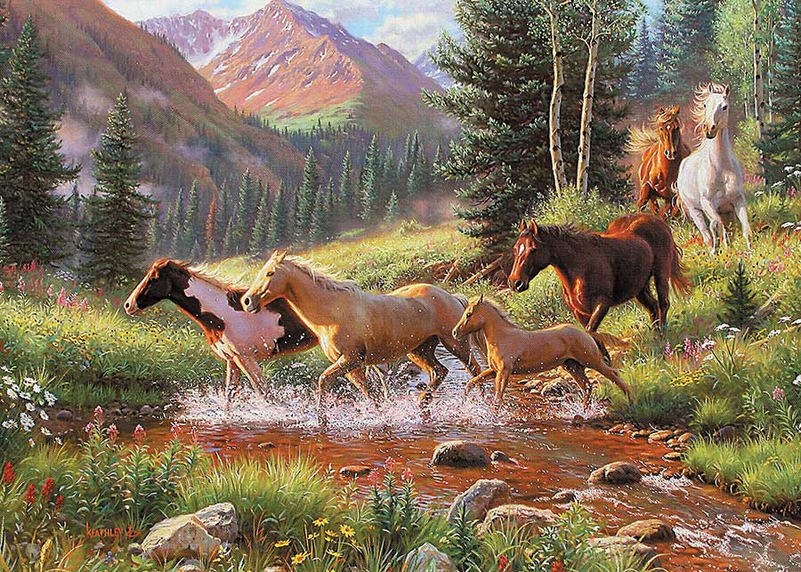 Horse Stream Countryside Jigsaw Puzzle