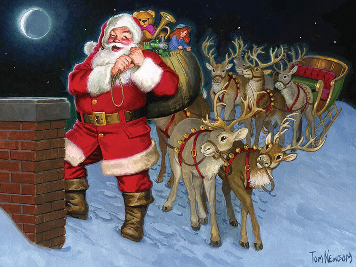 Santa by the Chimney Santa Jigsaw Puzzle