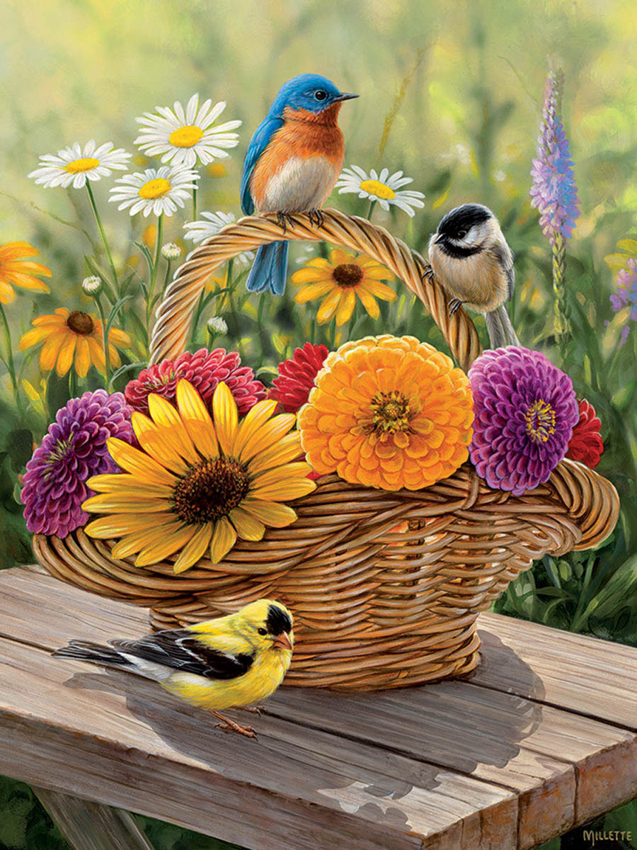 Bluebird and Bouquet Birds Jigsaw Puzzle